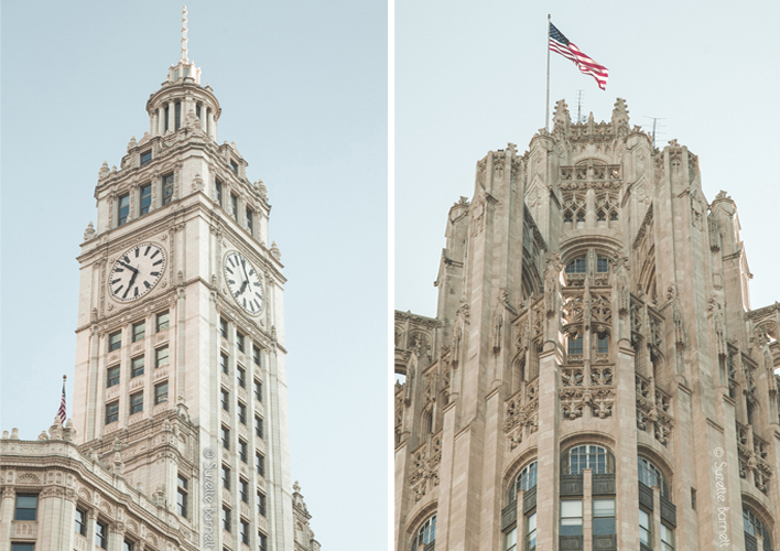 Chicago Tribune and Wrigley building
