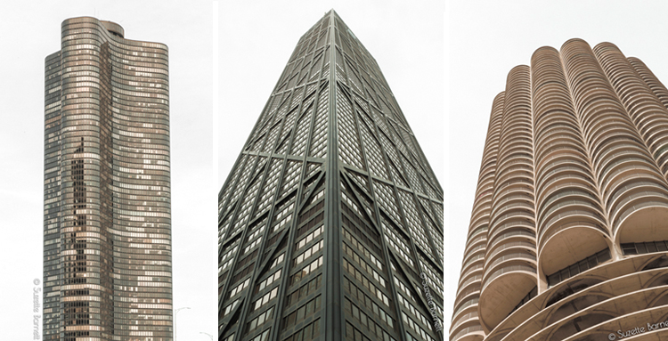 Chicago skyscapers_Marina City_Hancock building_Lake Point Tower