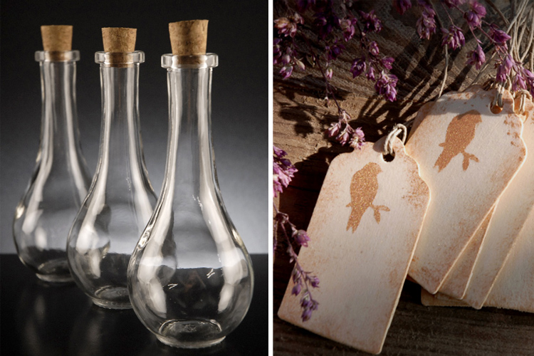 Glass bottles and gift tags from Save-on-Crafts.