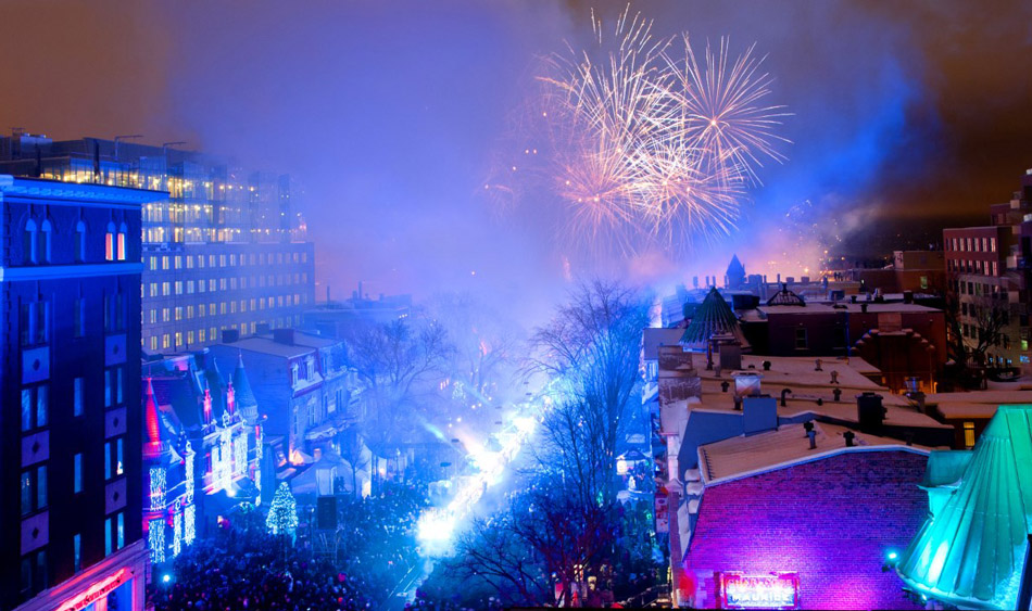 New Years Celebration Grand Allee Quebec Canada Fireworks