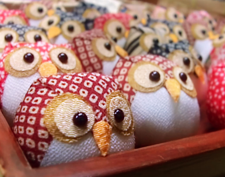 Lucky Stuffed Owl Art Silk Handmade Kyoto Japan