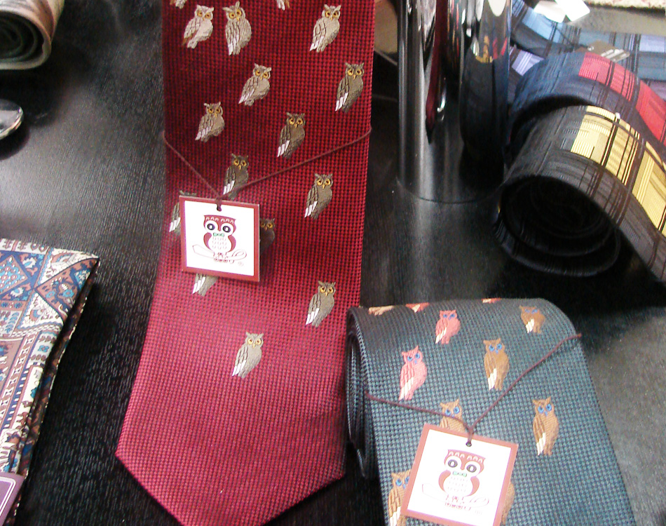 Nishijin Textile Center Kyoto Silk Ties Lucky Owl