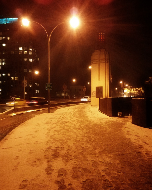Snow on the Burrard Bridge Downtown Vancouver Canada Winter