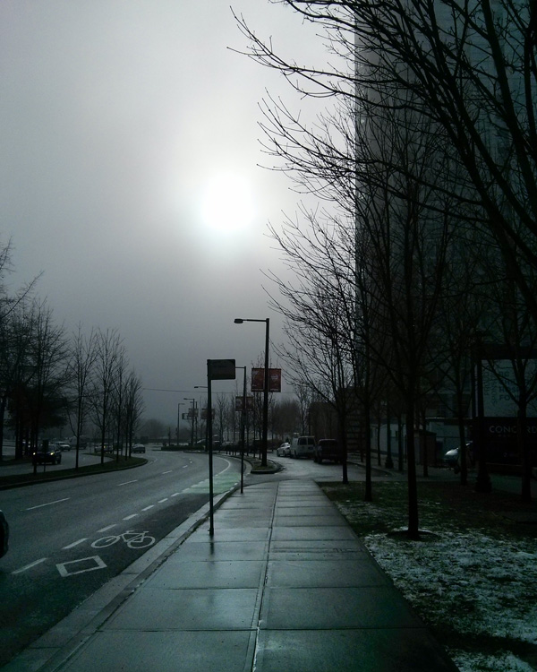 Sun behind the clouds Vancouver Canada Winter