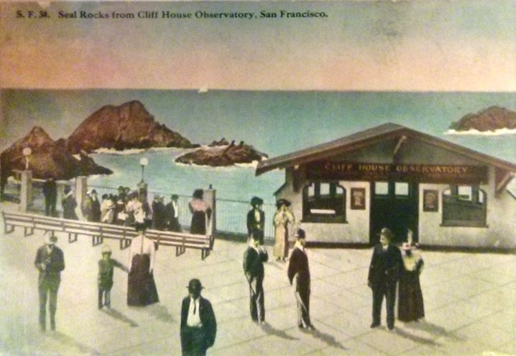 Sutro vintage postcard 1910 seal rocks from Sutro Observatory