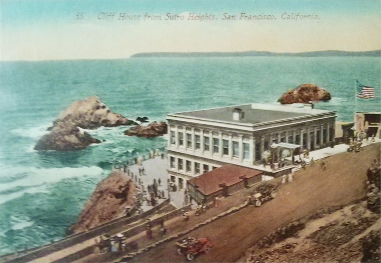 Vintage postcard 1910 Cliff House from Sutro Heights San Francisco