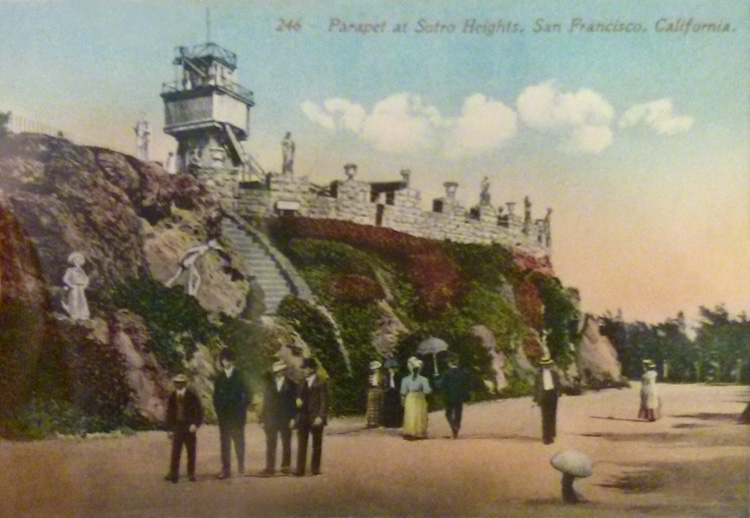 Vintage postcard 1910 Parapet at Sutro Heights San Francisco