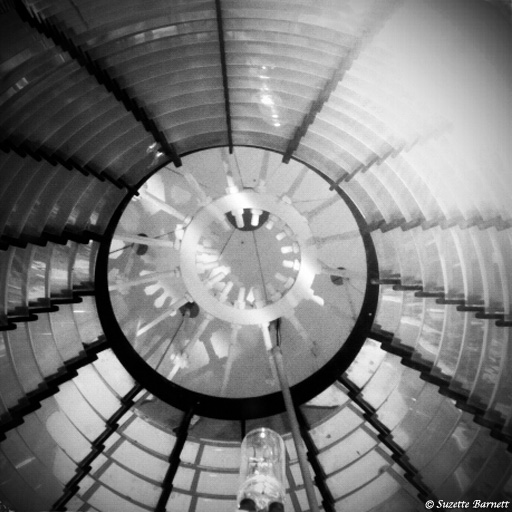 This is the fresnel lens which intensifies the light at the top of the lighthouse.