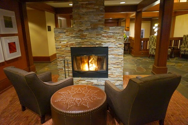 salish lodge lobby fireplace