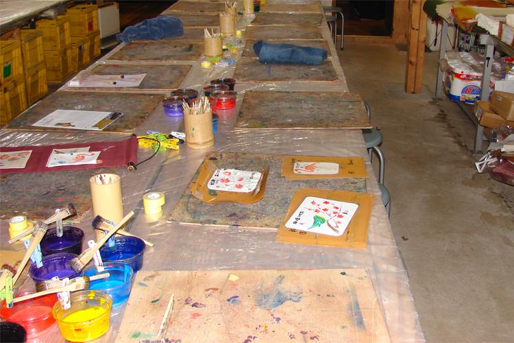 kyo yuzen fabric painting class kyoto workspace