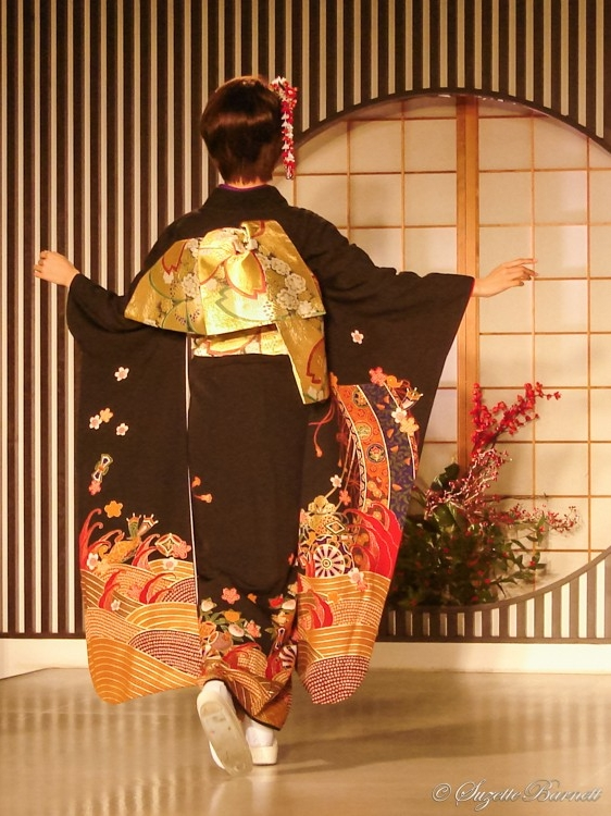 black red and gold silk kimono gold obi sash