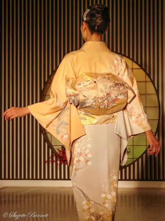 cherry blossom silk kimono for spring obi sash