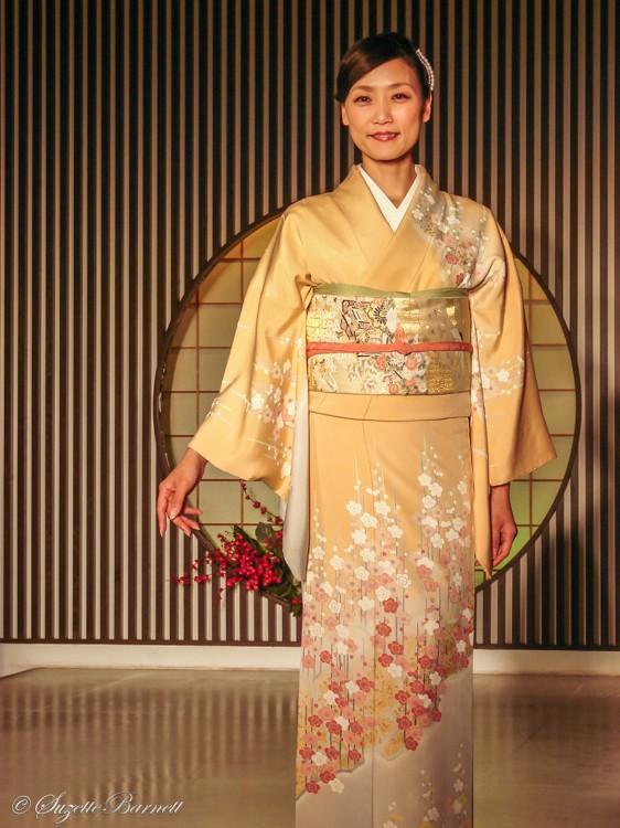 cherry blossom silk kimono for spring