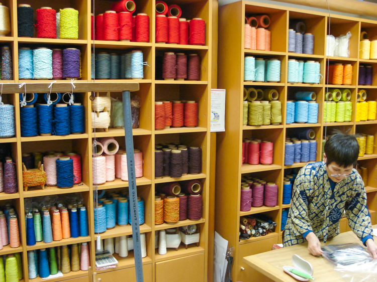 colorful Japanese silk threads for textile making