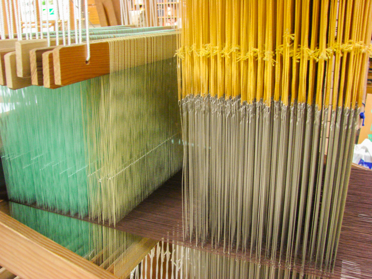 colorful threads in Japanese silk loom