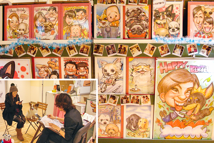 dog caricature drawings japan