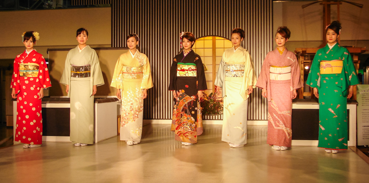 group shot of the Japanese models and seasons of kimono textiles