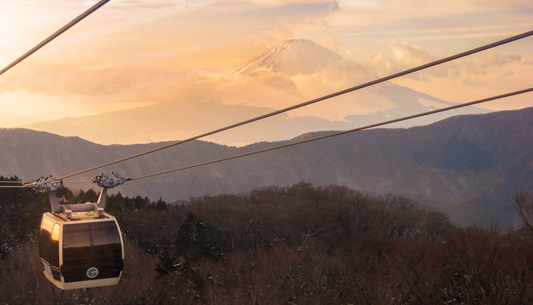 hakone ropeway cable car overlooking Mt Fuji