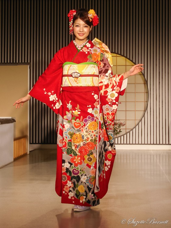 red silk floral kimono decorative fashion