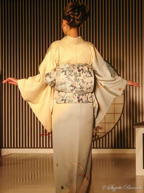 soft colors and embroidered obi sash