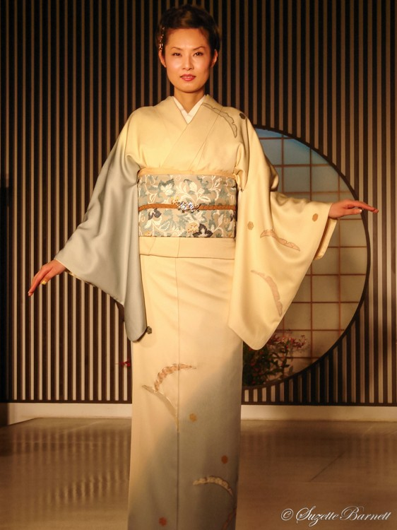 soft colors gradient silk kimono fashion