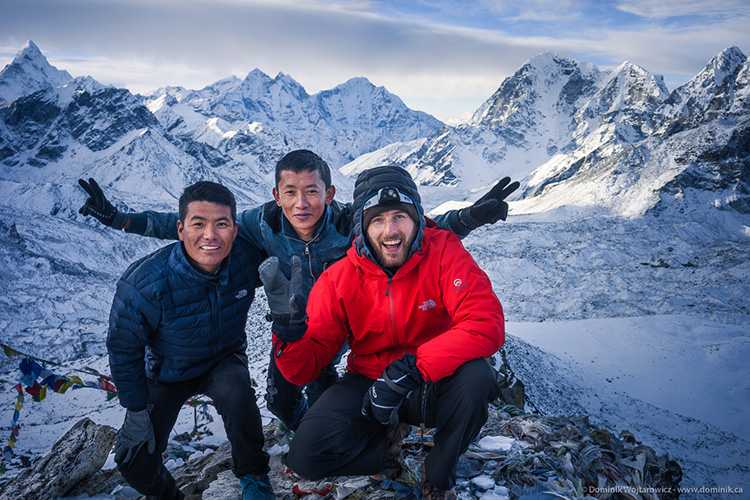 myself with porter Kamwada sherpa and guide Furba Sherpa