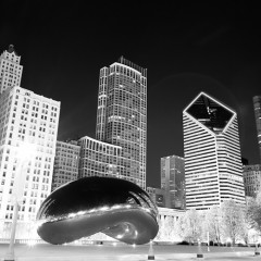 Chicago bean at night smurfit-stone building