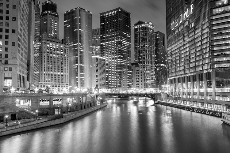 chicago river at night from michigan ave
