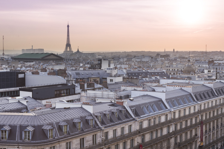 view from rooftop deck at Galeries Lafayette Paris