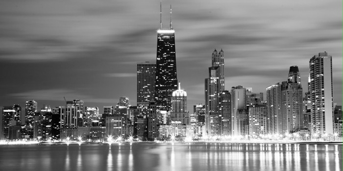 Chicago coastline Lakeshore drive b&w