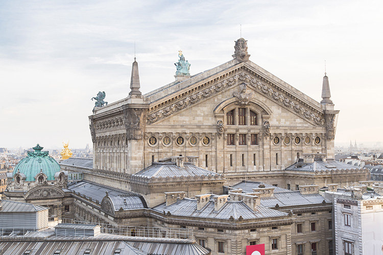 Close view of the nearby Paris opera house.