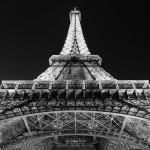 B&W Eiffel Tower at night Paris
