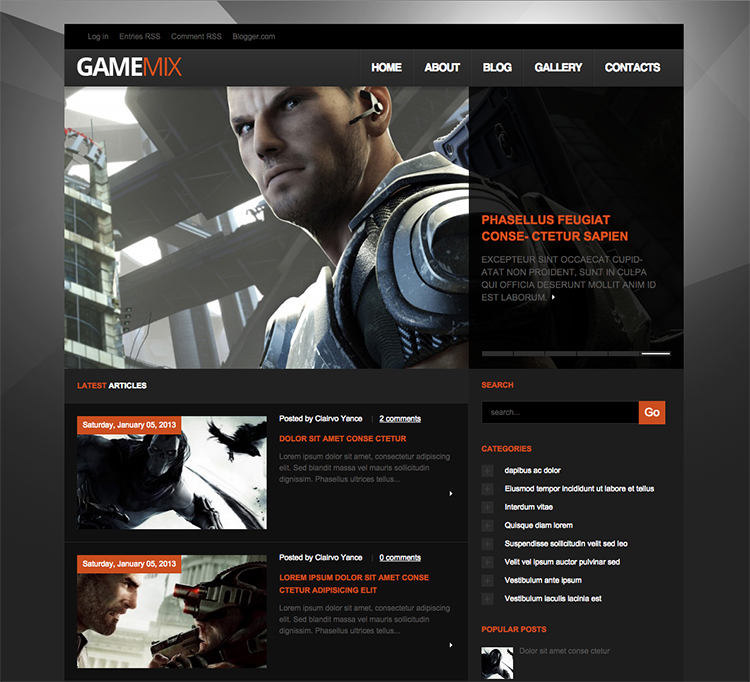 game mix blogger template