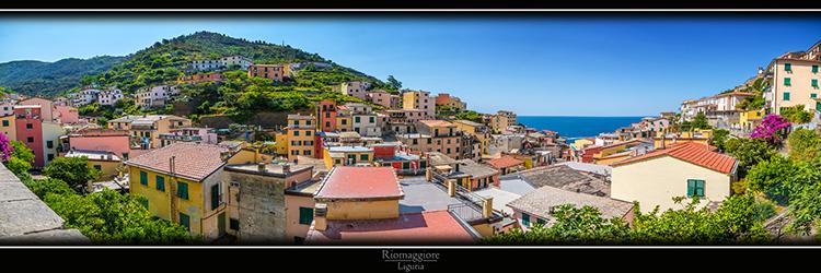 Riomaggiore Panorama in Liguria Italy