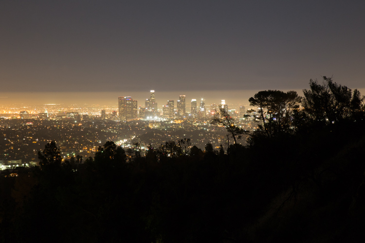 downtown LA at night from Griffith_Observatory