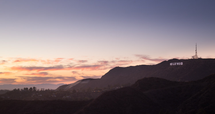 sunset at the Hollywood sign