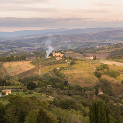 Tuscany countryside rolling hills