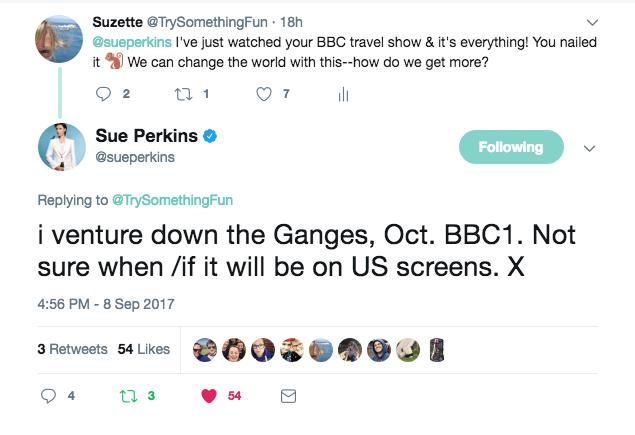 Sue Perkins BBC travel show tweet