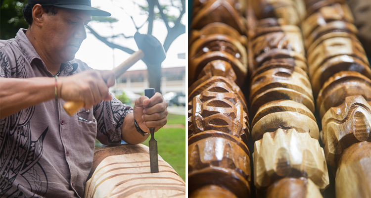 hawaaian traditional wood carving demonstration