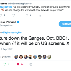 tweet Sue Perkins BBC travel show