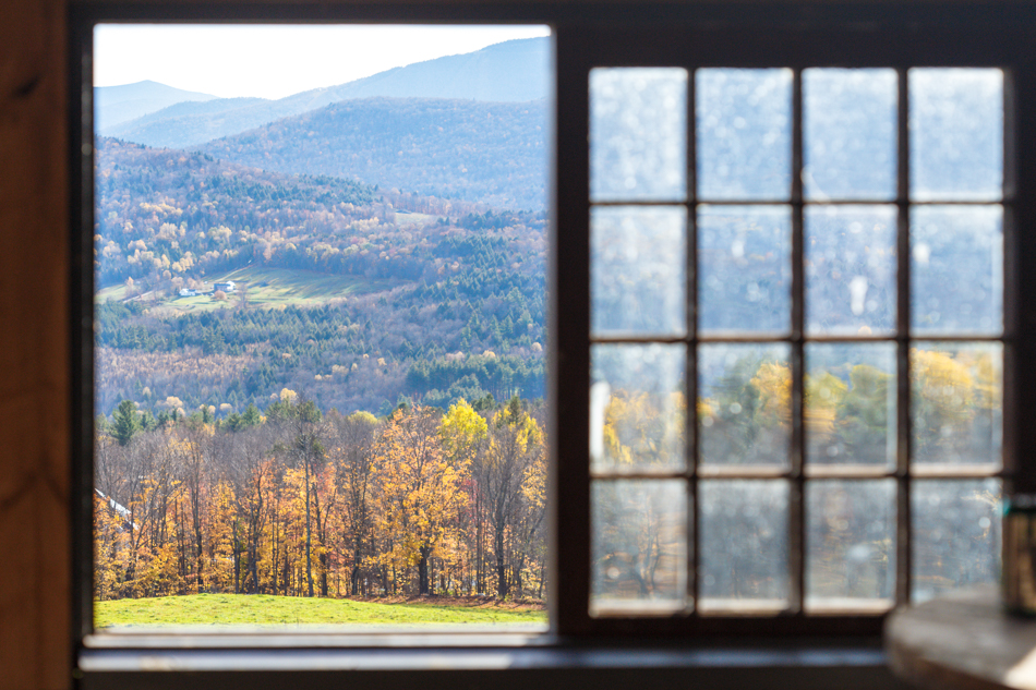 View from the farmhouse at Bragg Farm in Fayston, Vermont.