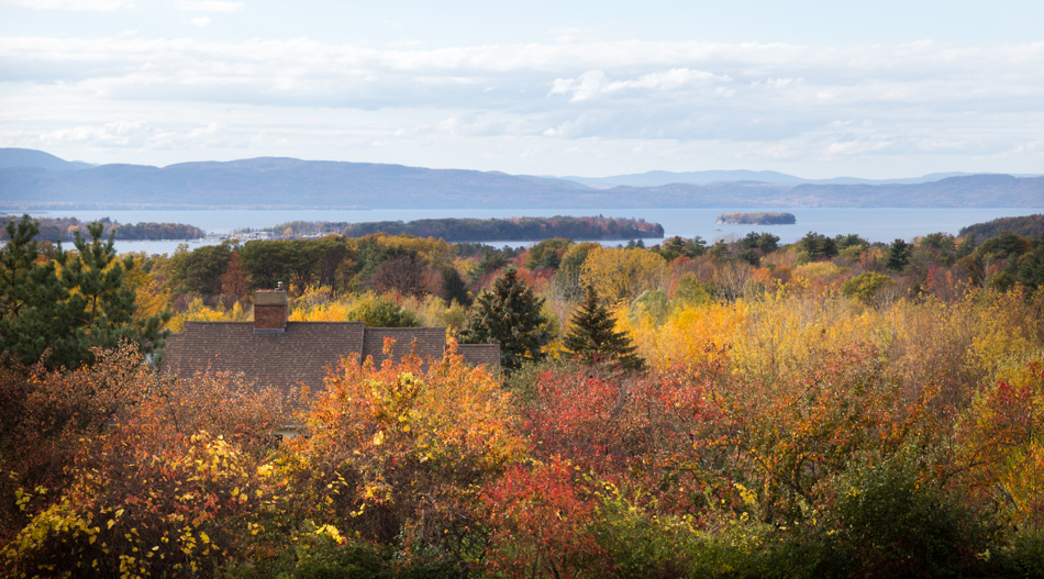 Beautiful autumn foliage surrounding Lake Champlain, as seen from Overlook Park.