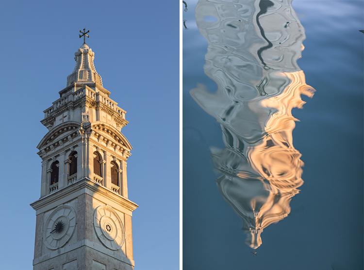 Church spire and reflection