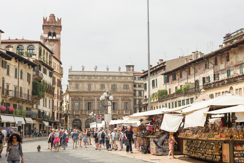 Piazza delle Erbe is the central gathering point in the city.