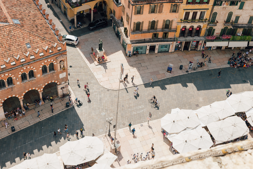 The entrance of Piazza delle Erbe from above.