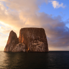 kicker rock at sunset