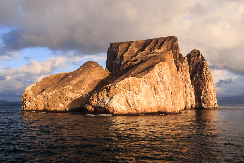 kicker rock lit by sun
